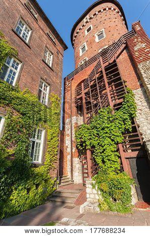 Beautiful Sandomierz Watchtower in Wawel Royal Castle and former barracks. Krakow, Poland