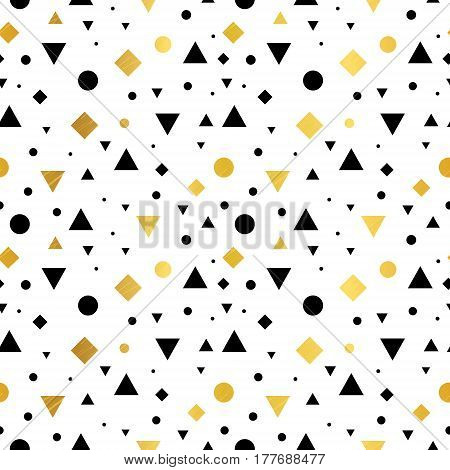 Vector Gold, Black and White Vintage Geometric Shapes Seamless Repeat Pattern Background. Perfect For Fabric, Packaging, Invitations, Wallpaper, Scrapbooking. Surface pattern design.