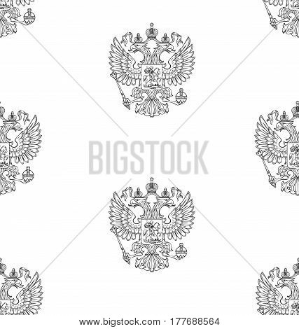 Vector seamless pattern with outlined coat of arms of Russian Federation with two-headed eagle on the white background.