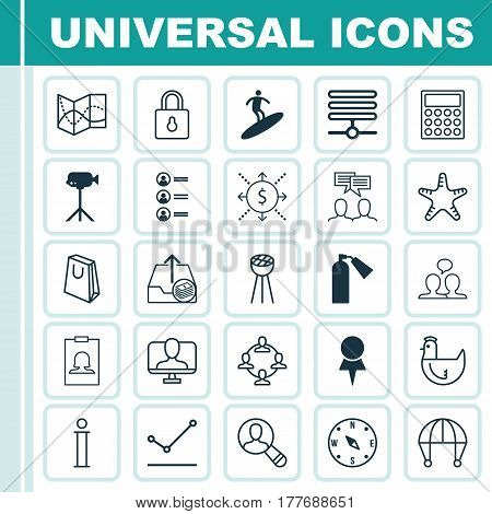 Set Of 25 Universal Editable Icons. Can Be Used For Web, Mobile And App Design. Includes Elements Such As Money, Hen, Grill And More.