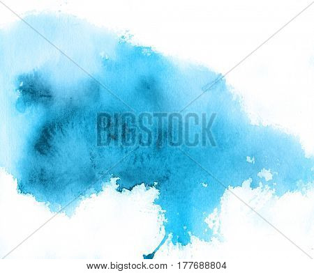 Blue spot, watercolor abstract hand painted background. Watercolour texture in trendy colors.