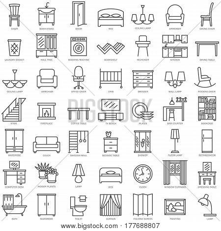 Room modern interior indoor furniture linear icons set illustration
