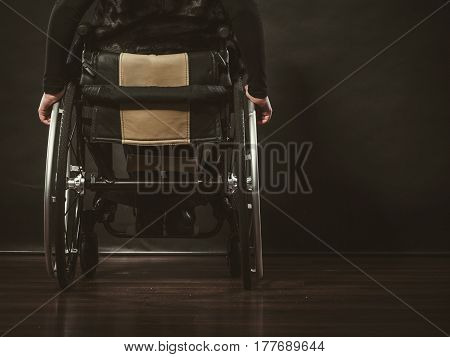 Disease disability paralysis handicap health concept. Legs of disabled person. Crippled female