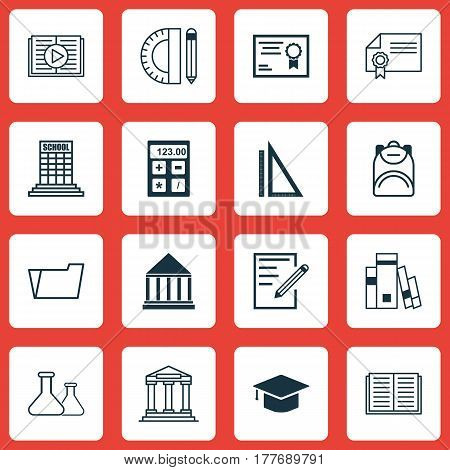 Set Of 16 School Icons. Includes Chemical, Certificate, Academy And Other Symbols. Beautiful Design Elements.