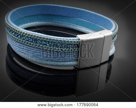Modern Ladies blue Bracelet - Black background...