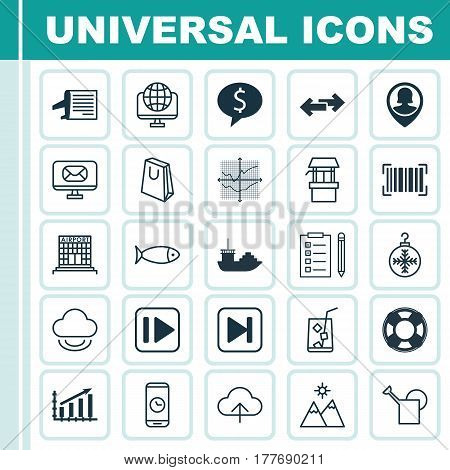 Set Of 25 Universal Editable Icons. Can Be Used For Web, Mobile And App Design. Includes Elements Such As Landscape, Data Synchronize, Bailer.