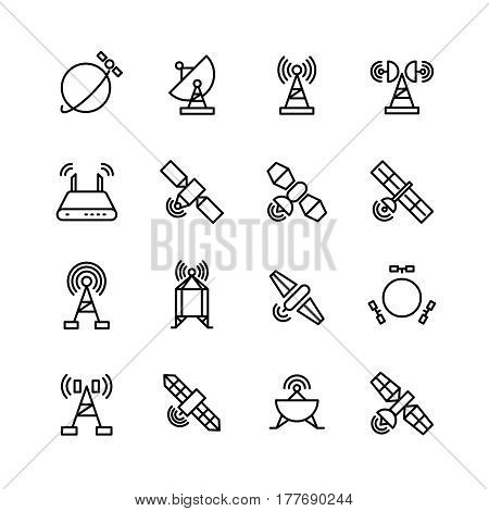 Space orbit communication satellite, global navigation vector line icons. Navigation global satellite illustration