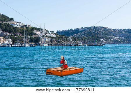 Pontoon floating platform in the bay of Port Andratx Mallorca Baleares Spain.