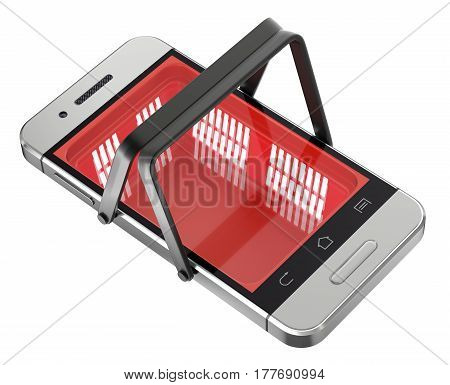 Online shopping concept with shopping basket in the mobile - 3D illustration