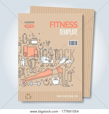 Cover design template with line icons symbols of fitness studio, gym facility or health industry. Ideal layout for World Health Day, healthy lifestyle. Clean and minimalistic vector concept.