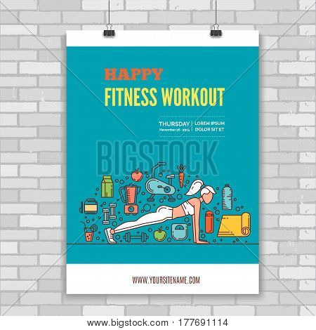 Poster design template with line icons symbols of fitness studio, gym facility or health industry. Ideal layout for World Health Day, healthy lifestyle. Clean and minimalistic vector concept.