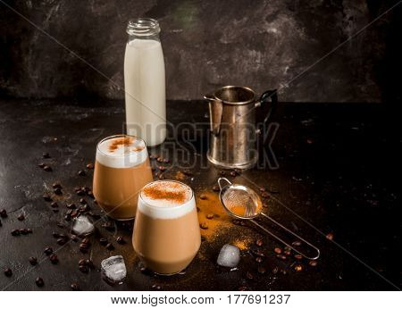 Cold Coffee Latte With Milk, Ice And Cinnamon