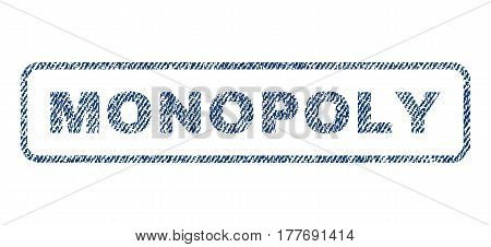 Monopoly text textile seal stamp watermark. Blue jeans fabric vectorized texture. Vector tag inside rounded rectangular banner. Rubber emblem with fiber textile structure.