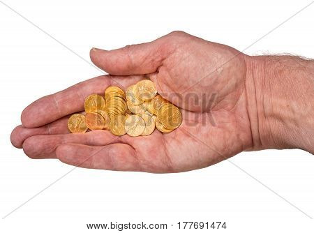 Senior man's hand holding tenth ounce pure gold USA treasury coins and isolated against a white background