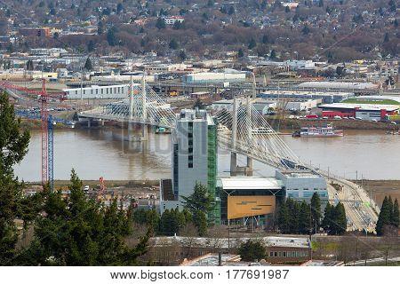 Tilikum Crossing bridge over Willamette River in Portland Oregon downtown South Waterfront