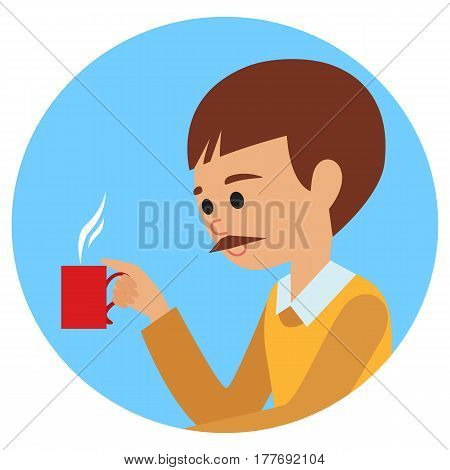 Man with cup in his hand drinking hot coffee. Vector illustration icon isolated on white background.