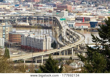 Marquam Bridge Interstate freeway over Willamette River in Portland Oregon