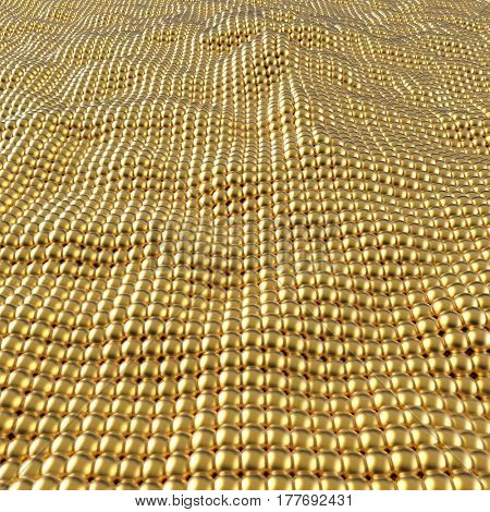 Abstract gold spheres wavy surface background. 3D rendering.