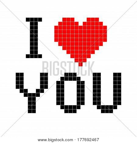 Vector illustration text I love you in pixel style