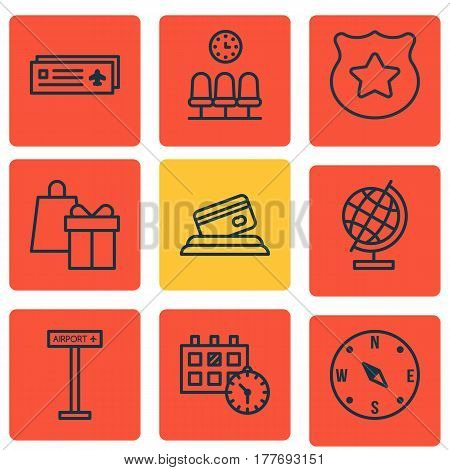 Set Of 9 Transportation Icons. Includes Airport Card, Airplane Information, Seats And Other Symbols. Beautiful Design Elements.