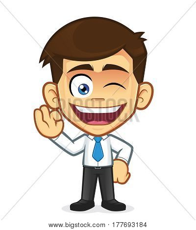 Clipart picture of a businessman cartoon character gesturing ok and winking