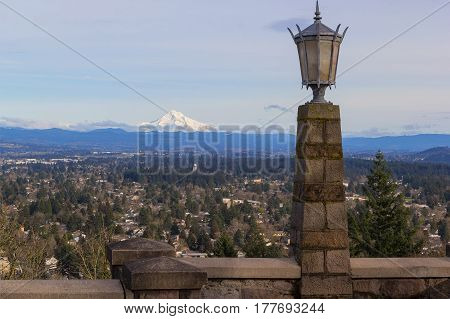 Stone Lamp Post at Rocky Butte in Portland Oregon with Mount Hood view during a beautiful sunny day