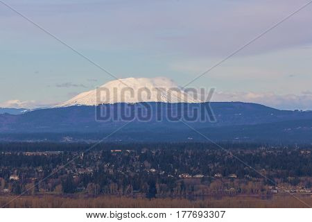 Snow covered Mount Saint Helens view with Columbia Riverin the landscape on a sunny day
