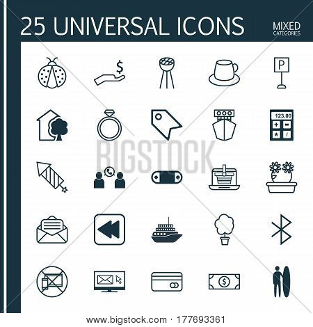 Set Of 25 Universal Editable Icons. Can Be Used For Web, Mobile And App Design. Includes Elements Such As Newsletter, Firework, Roadsign And More.