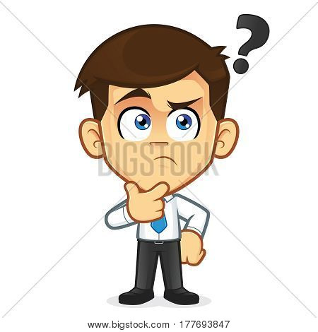 Clipart picture of a businessman cartoon character thinking
