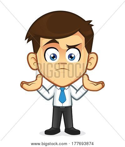 Clipart picture of a businessman cartoon character in confused gesturing