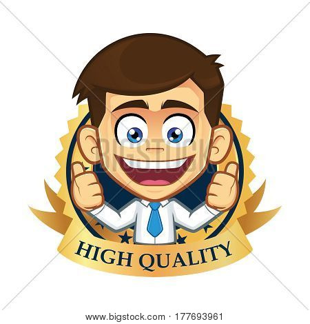 Clipart picture of a businessman cartoon character with guarantee icon