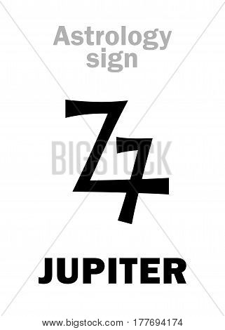 Astrology Alphabet: JUPITER (Zeus), classic major planet. Hieroglyphics character sign (ancient greek symbol).