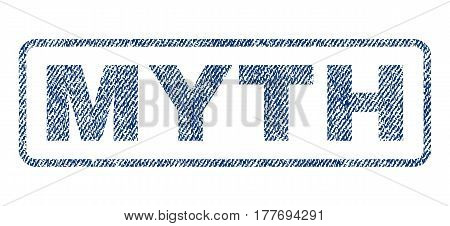 Myth text textile seal stamp watermark. Blue jeans fabric vectorized texture. Vector tag inside rounded rectangular banner. Rubber emblem with fiber textile structure.