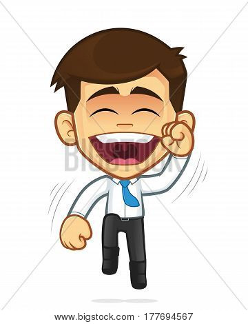 Clipart picture of a happy businessman cartoon character jumping