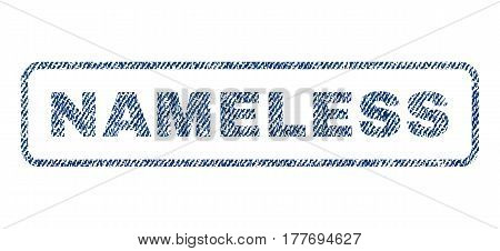Nameless text textile seal stamp watermark. Blue jeans fabric vectorized texture. Vector tag inside rounded rectangular banner. Rubber sign with fiber textile structure.