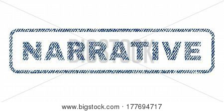 Narrative text textile seal stamp watermark. Blue jeans fabric vectorized texture. Vector caption inside rounded rectangular banner. Rubber sticker with fiber textile structure.