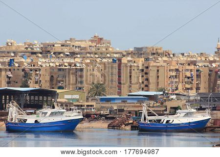 Port Said. Egypt.  It is located near the Suez Canal.