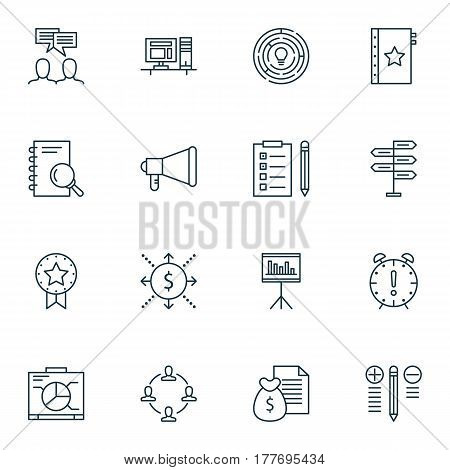 Set Of 16 Project Management Icons. Includes Opportunity, Reminder, Computer And Other Symbols. Beautiful Design Elements.