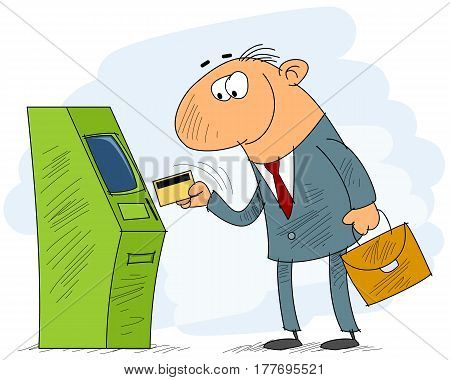 vector illustration of a businessman withdrawing money