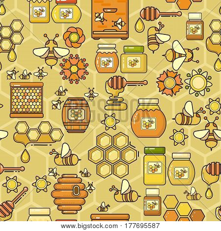 Vector seamless pattern. Beekeeping product. Included bee, honey, jar, dipper, honeycomb, beehive and flower on yellow background