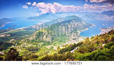 Top View Boka Kotorska Gulf Mountain Lovchen Montenegro Wide Angle