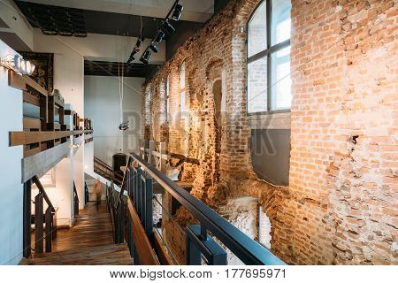 Mir, Belarus - September 1, 2016: Remains of original castle wall And Exposition In Castle Complex Museum. Famous Landmark, Architectural Ensemble Of Feudalism, Ancient Cultural Monument, UNESCO Heritage