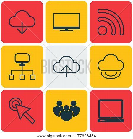 Set Of 9 Internet Icons. Includes Team, Cursor Tap, Local Connection And Other Symbols. Beautiful Design Elements.