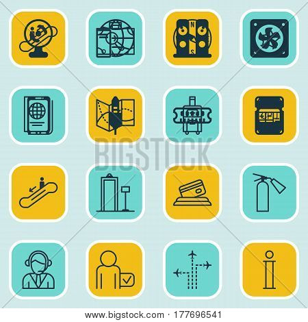 Set Of 16 Travel Icons. Includes Escalator Down, Credit Card, Calculation And Other Symbols. Beautiful Design Elements.