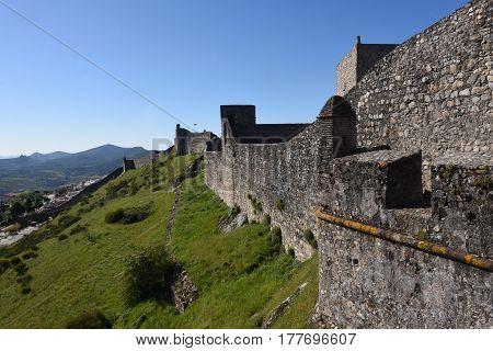 Walls Of Castle Of Marvao, Alentejo Region, Portugal