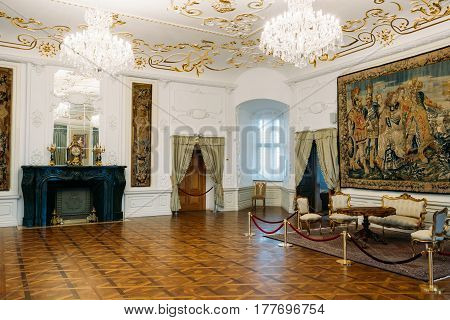Mir, Belarus - September 1, 2016: Exposition On Third Floor Is Portrait Hall In Castle Complex Museum. Famous Landmark, Architectural Ensemble Of Feudalism, Ancient Cultural Monument, UNESCO Heritage