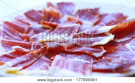 Jamon serrano, ham, typical and delicious Spanish food