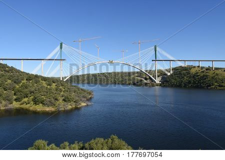bridge over the Tagus river on a sunny day