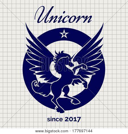 Vintage unicorn logo design on notebook page backdrop. Vector illustration