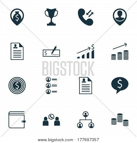 Set Of 16 Human Resources Icons. Includes Money Navigation, Tournament, Bank Payment And Other Symbols. Beautiful Design Elements.